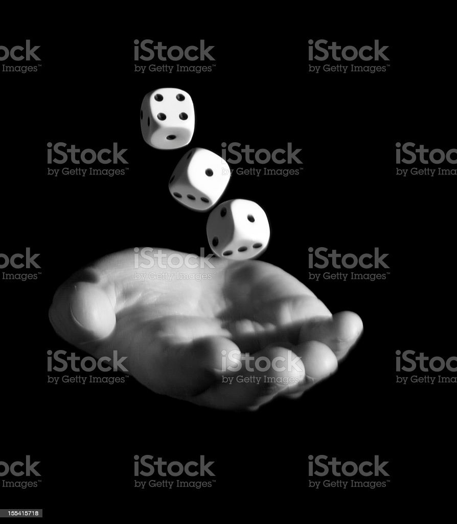 Throwing Dice (black and white) royalty-free stock photo