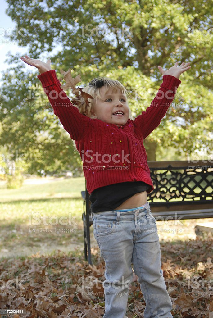 Throwing Leaves stock photo