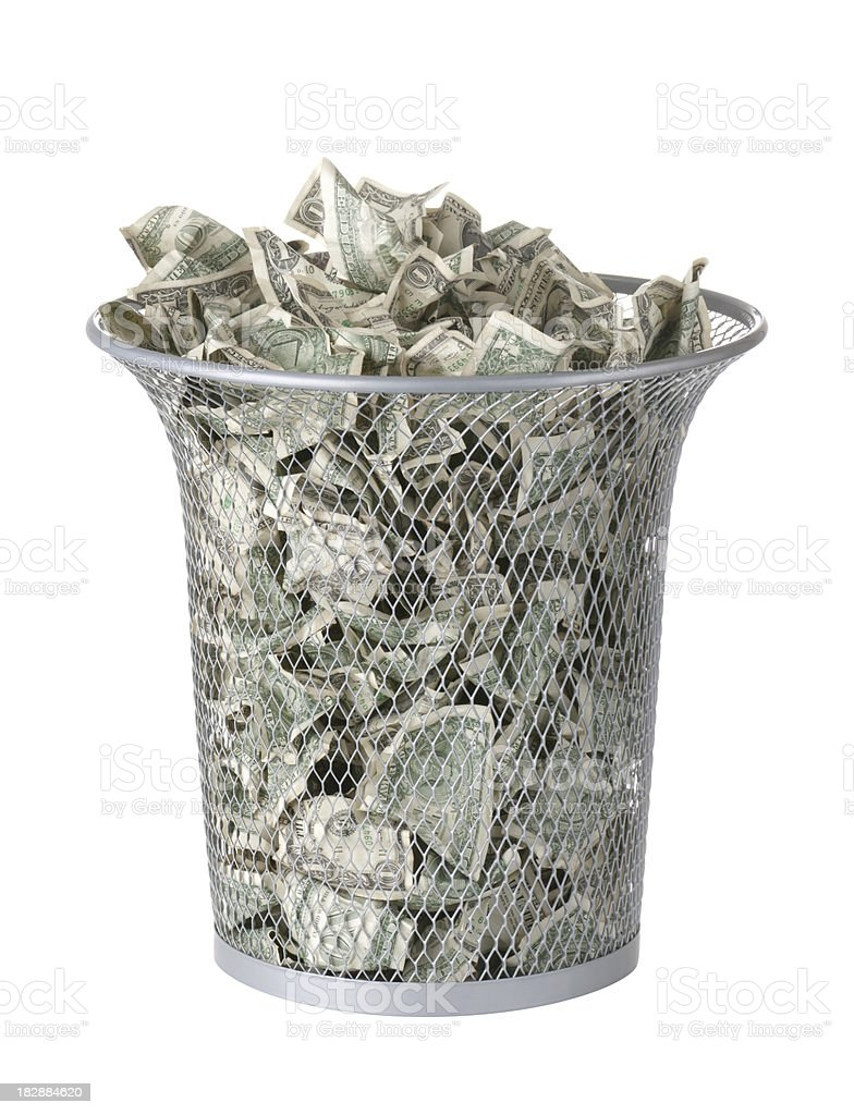 Throwing Money Away stock photo