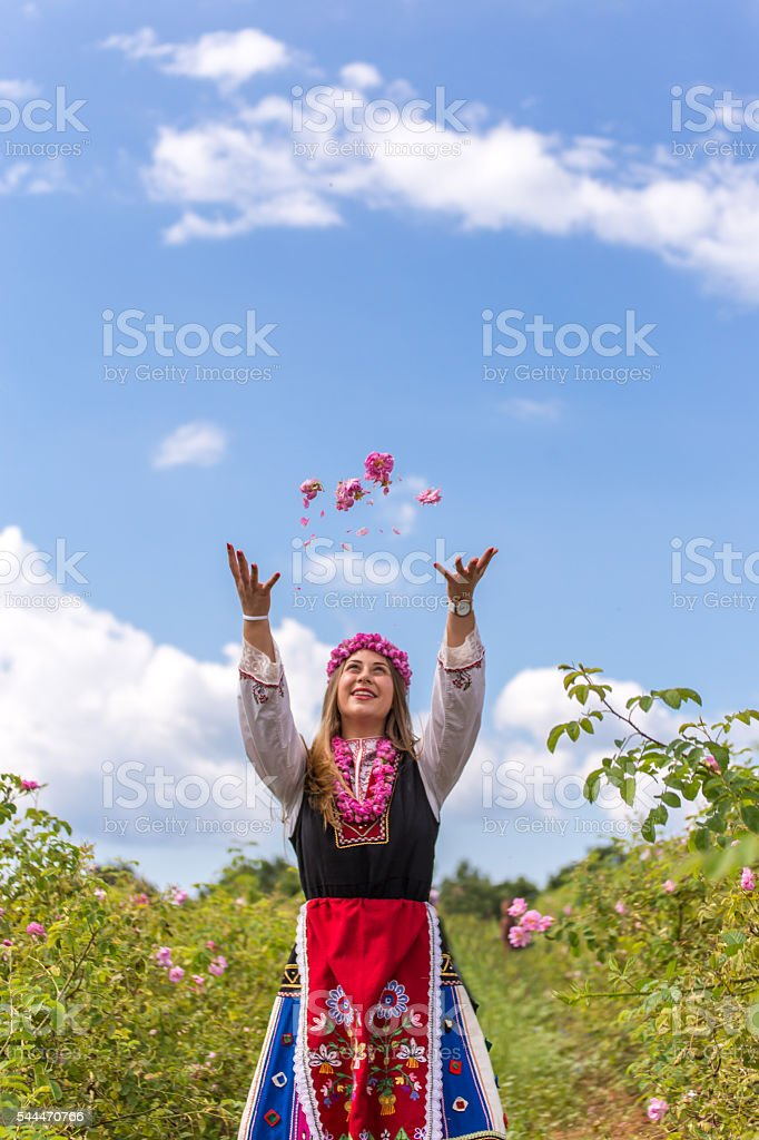 Throwing roses in the air stock photo