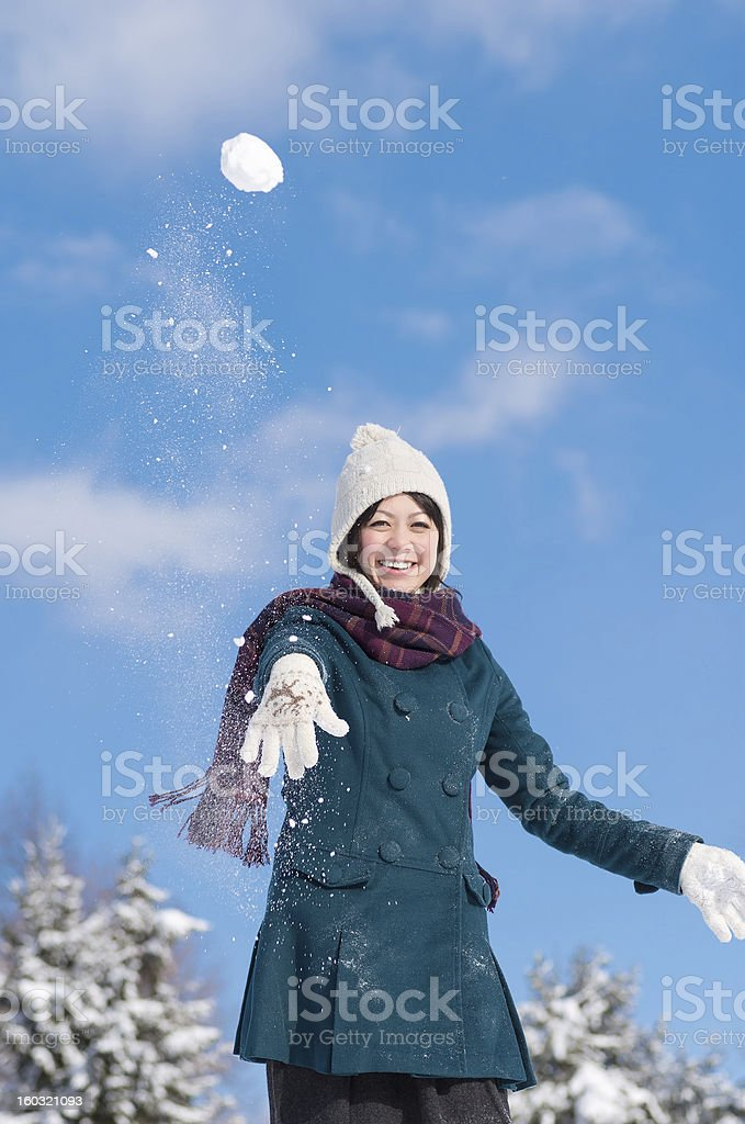 Throwing Snowball royalty-free stock photo