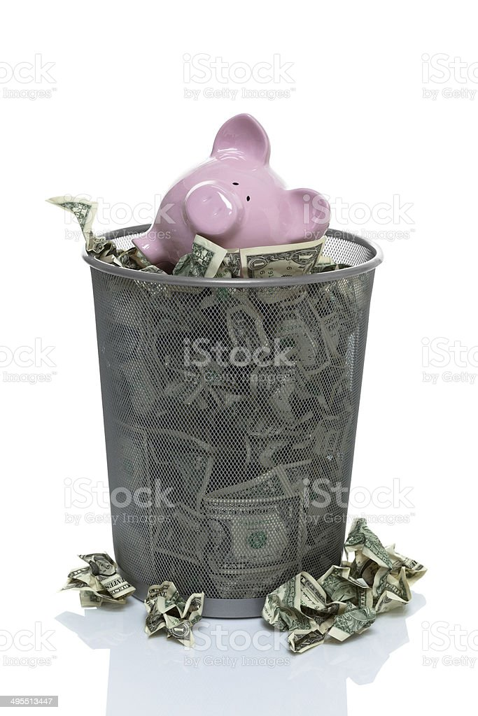 Throwing your savings away stock photo