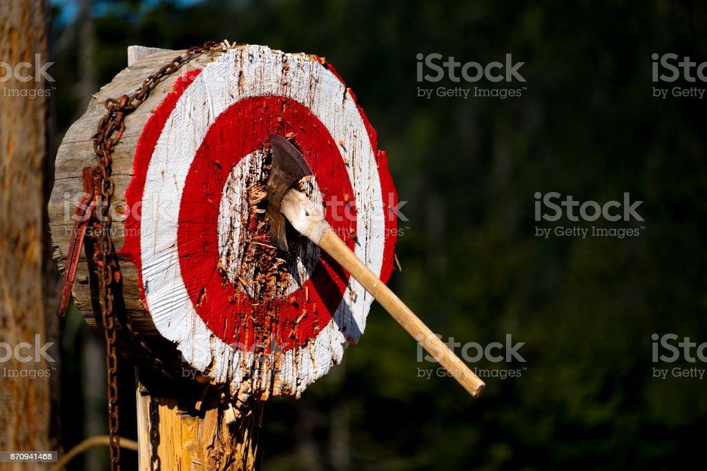 Thrown Axe in Bullseye