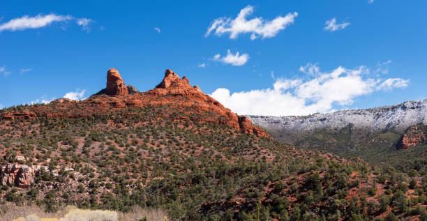 Thumb Butte located in Coconino National Forest, Arizona. stock photo