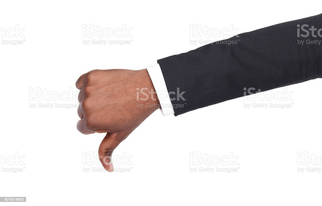 Thumb down sign isolated on white background stock photo