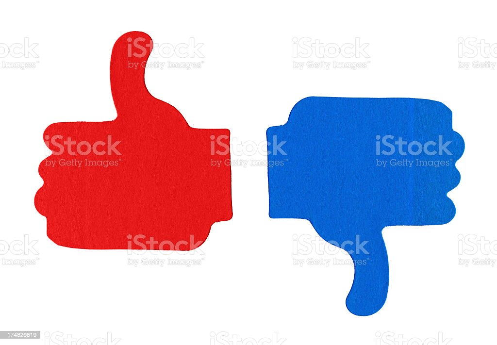 Image result for red and blue thumbs up and down