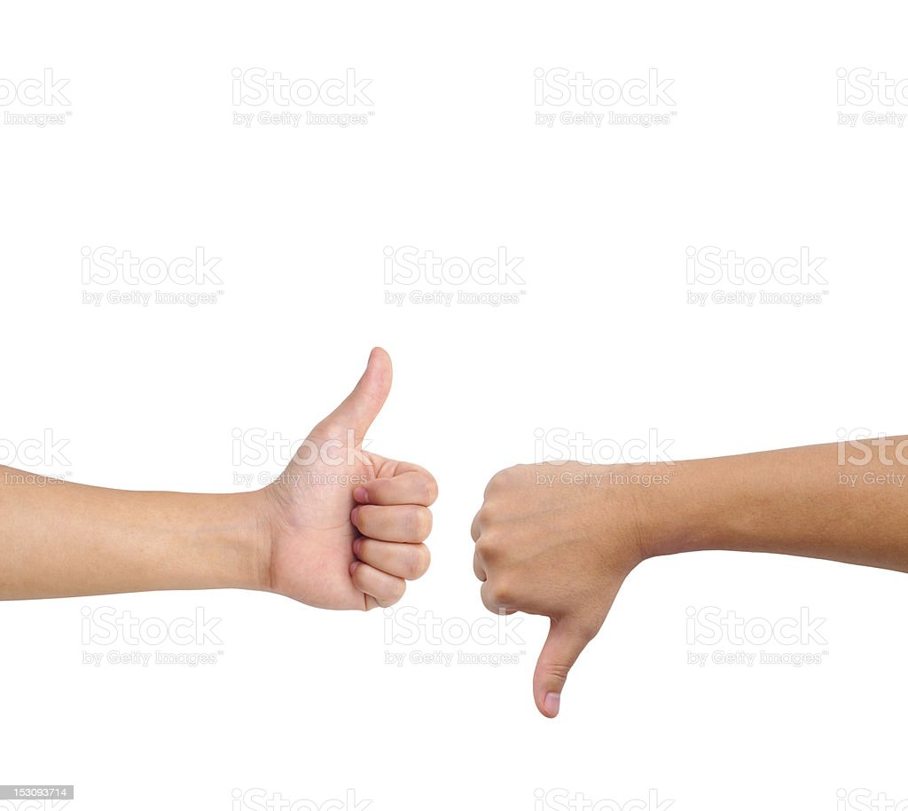 Thumb up and down hand signs stock photo