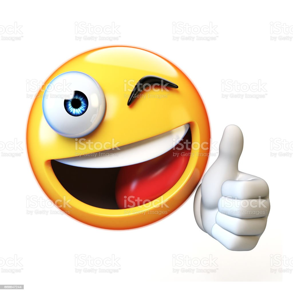 Thumb up emoji isolated on white background, emoticon giving likes 3d rendering stock photo