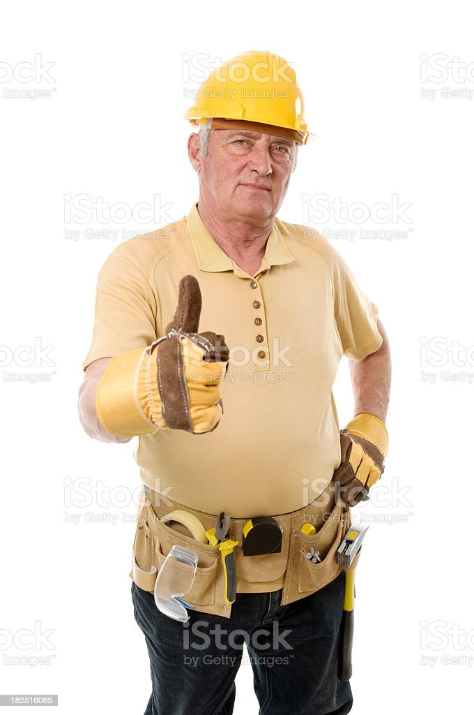 Thumb up from a senior worker royalty-free stock photo