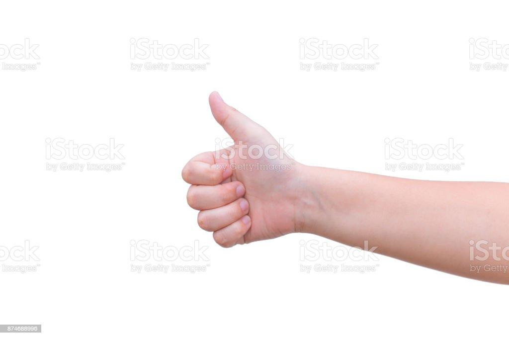 thumb up hand good like posture isolated on white stock photo