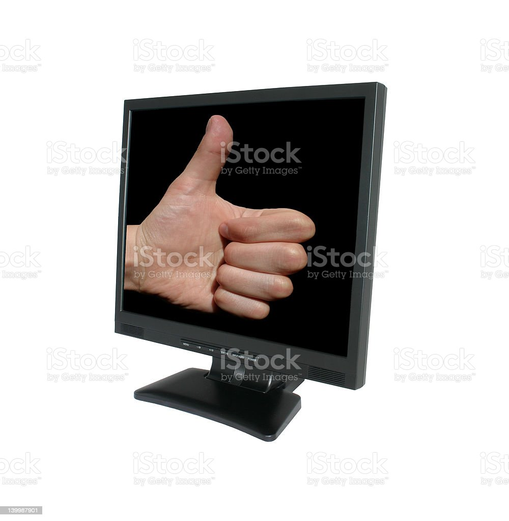 thumb up in LCD royalty-free stock photo