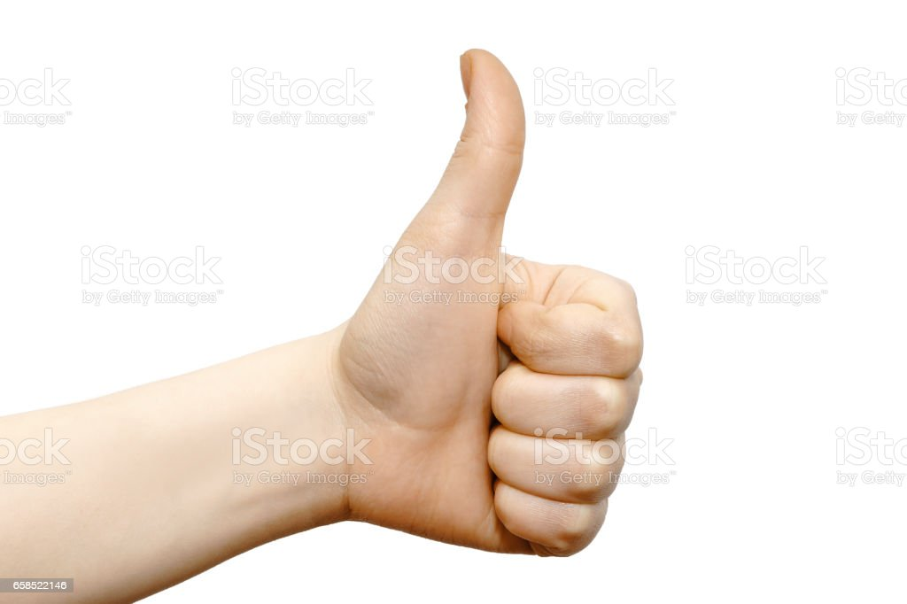 Thumb up, left wrist hand, cool, great job sign stock photo