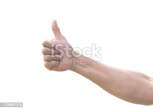 693589426istockphoto Thumb up of man's  hand isolated on white background with clipping path for like, approval and agreement 1139567379