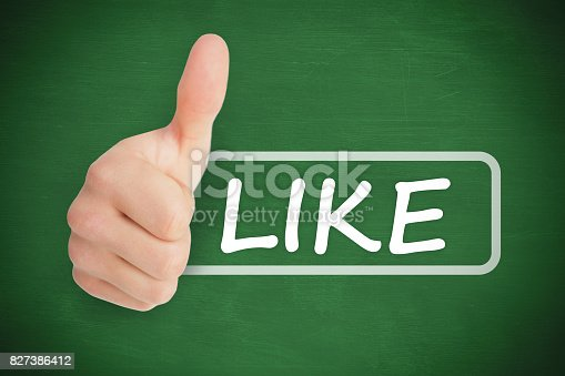 Thumb up representing social network logo next to like written in tag on green background