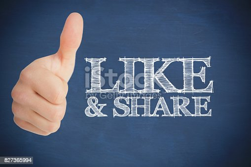 Thumb up representing social network logo besides like and share