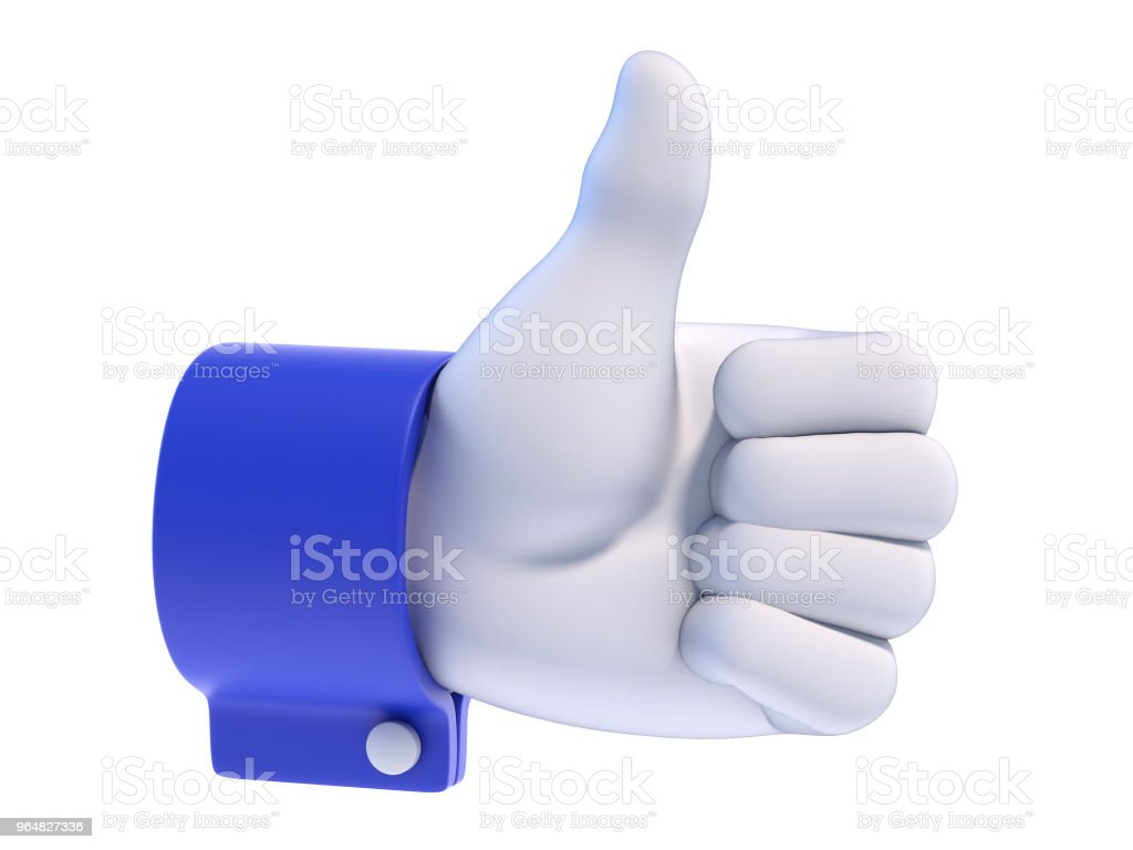 Thumb up white cartoon hand with blue sleeve, 3d rendering royalty-free stock photo