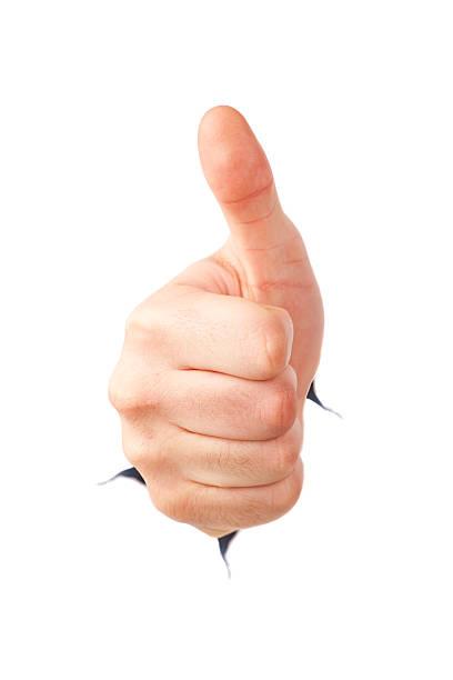 hand geste daumen hoch! poping aus papier - marko skrbic stock-fotos und bilder