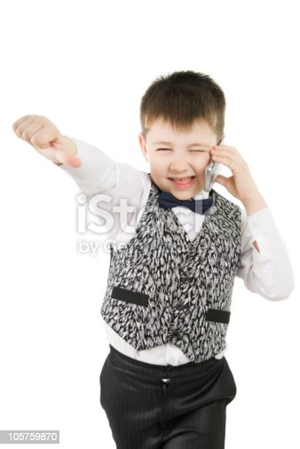 Fun boy with thumbs down on white background
