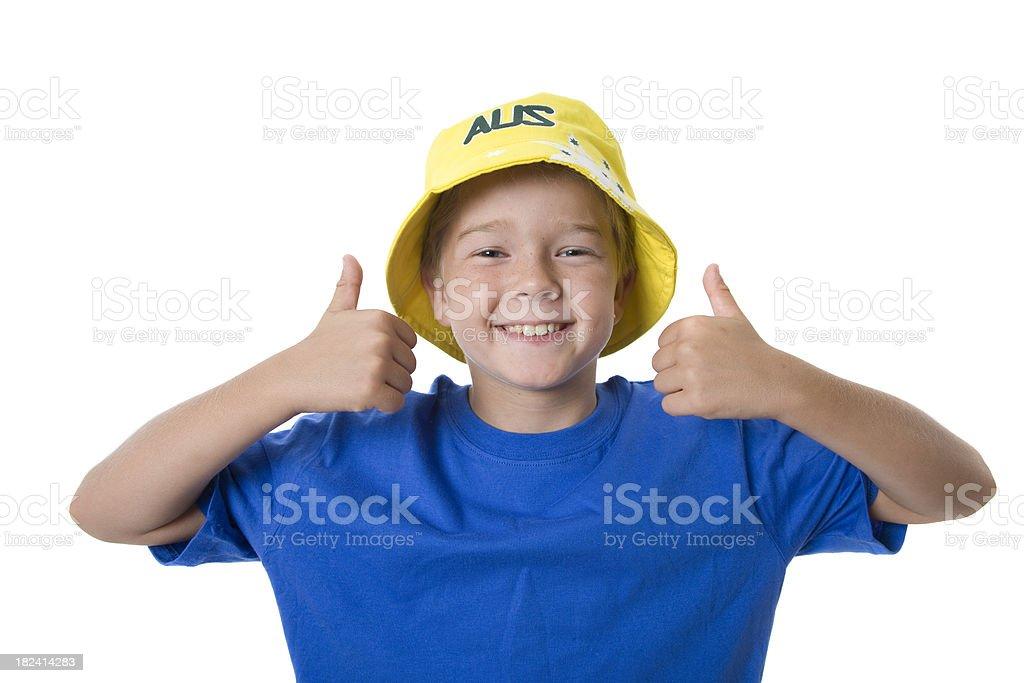 Thumbs Up Australia Boy stock photo