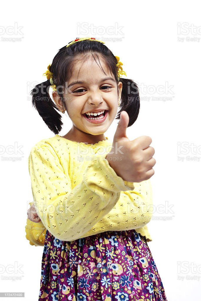 Thumbs Up Cheerful Little Indian Girl Isolated on White royalty-free stock photo