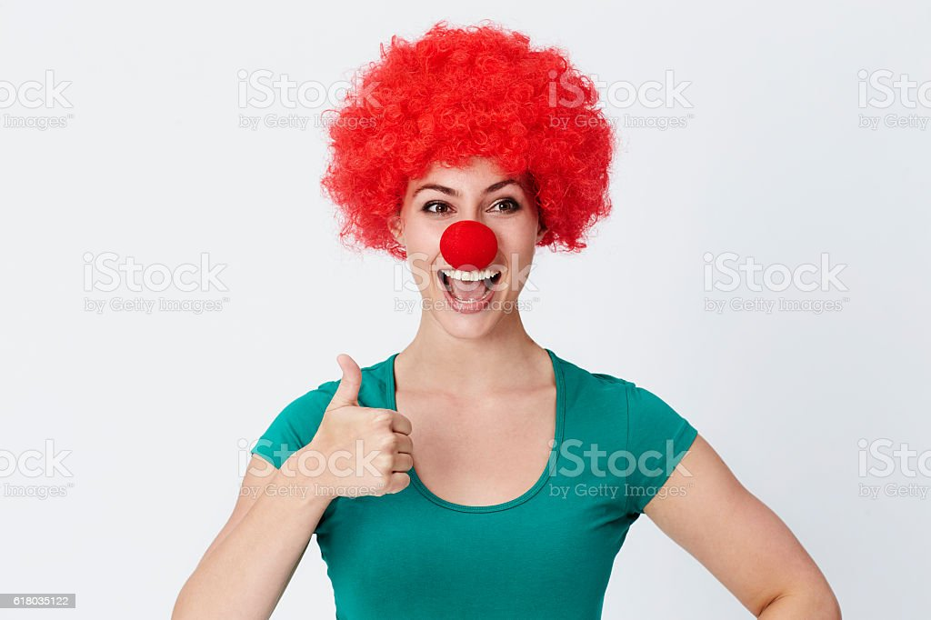 Thumbs up clown stock photo