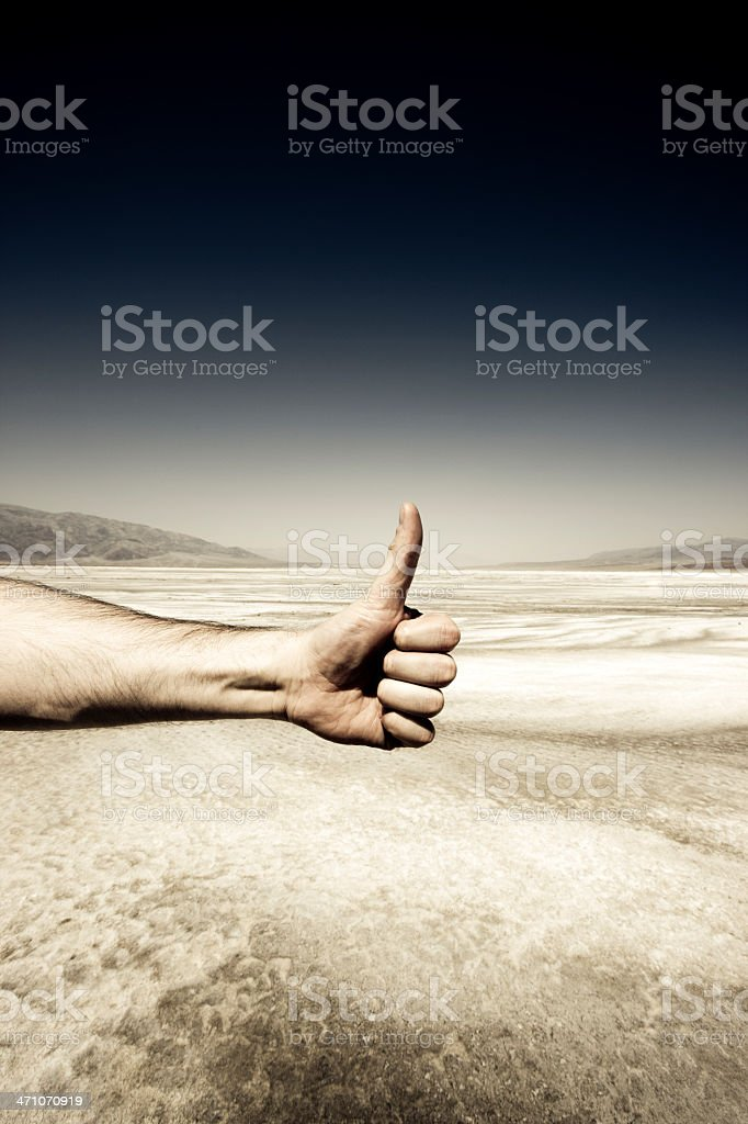 Thumbs up! Death Valley. royalty-free stock photo