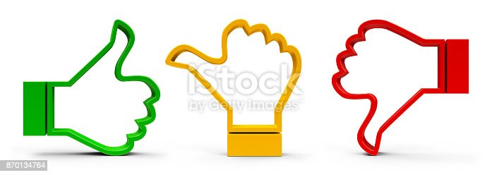 istock Thumbs up, down and middle 870134764