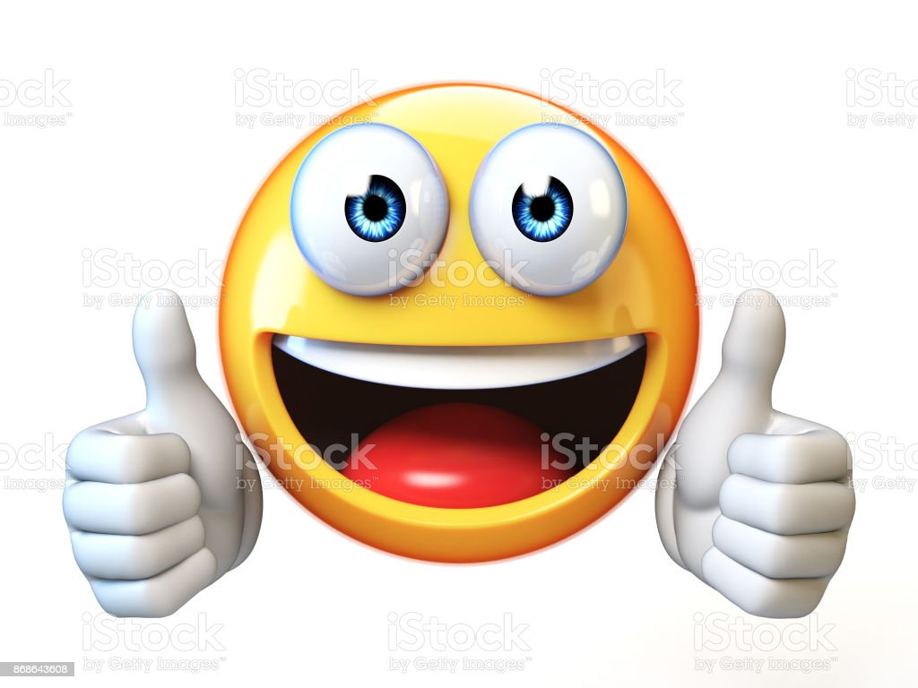 thumbs up emoji isolated on white background emoticon giving likes