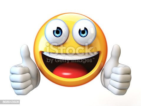 istock Thumbs up emoji isolated on white background, emoticon giving likes 3d rendering 868643608