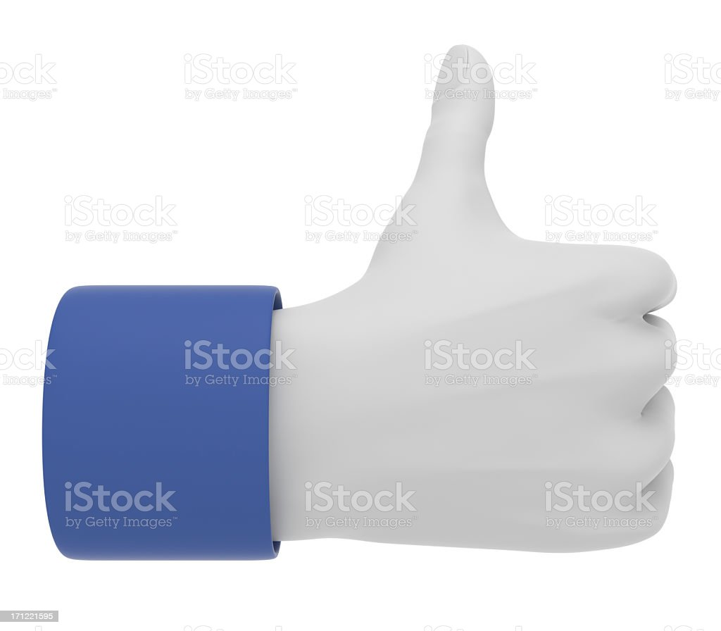 3D Thumbs Up Hand Gesture royalty-free stock photo