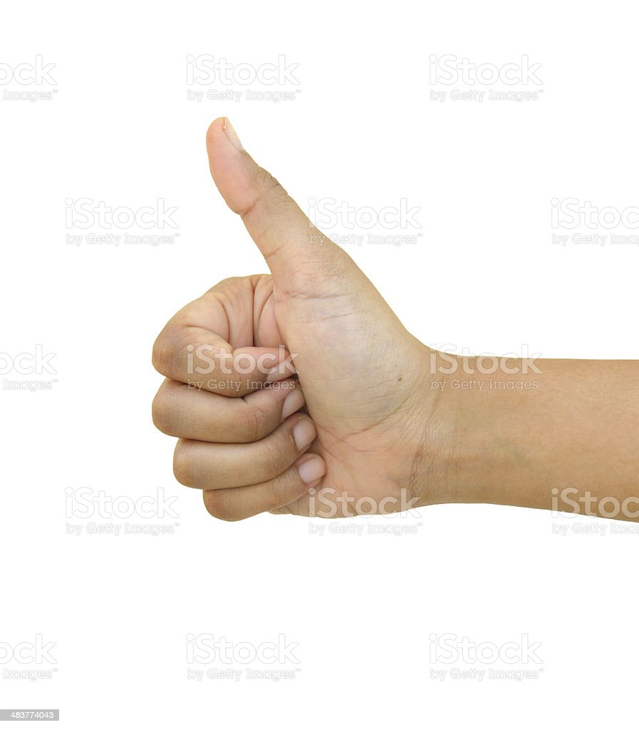 Thumbs up isolated on white royalty-free stock photo