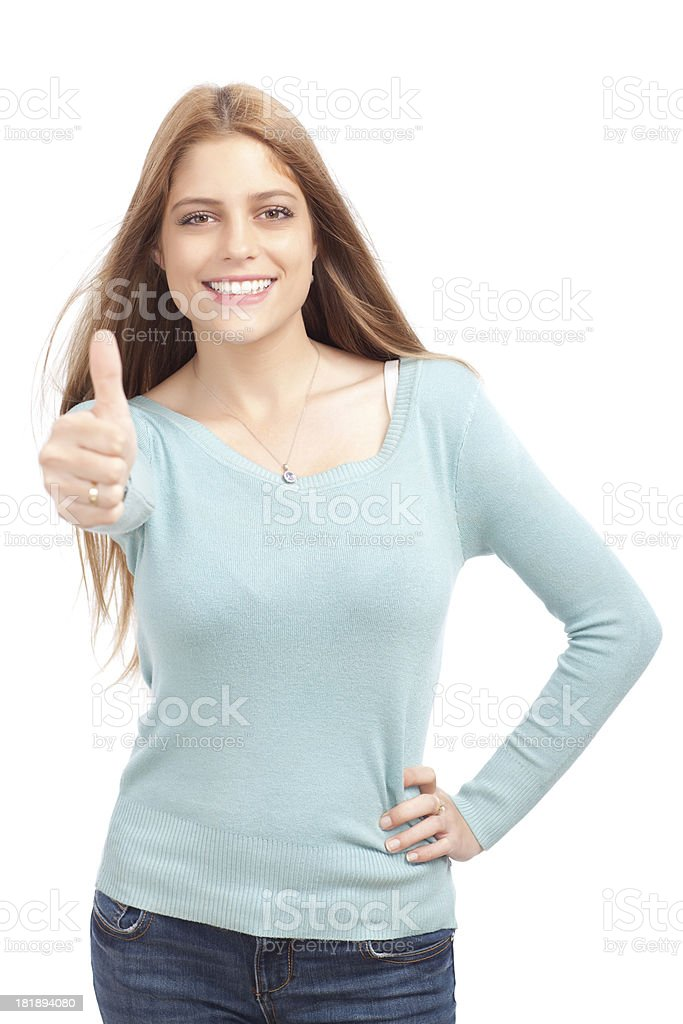 Thumbs up of success and approval royalty-free stock photo