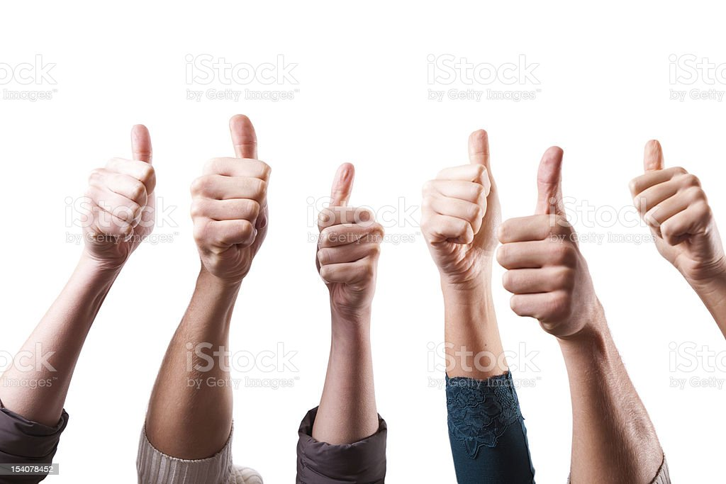 Thumbs Up on White Background stock photo