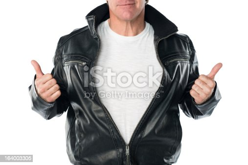 Mid forties confident male in a black leather jacket, with thumbs up. T-shirt has blank copy space