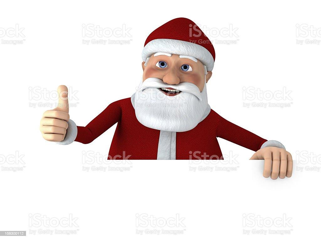 Thumbs up Santa with blank sign royalty-free stock photo