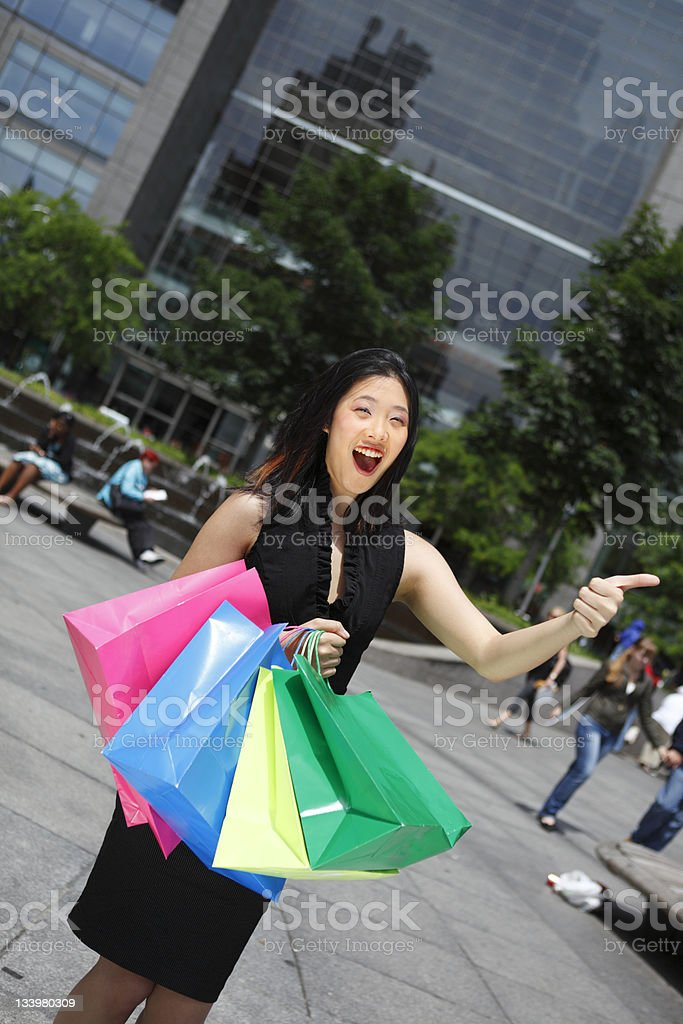 Thumbs Up Shopper stock photo