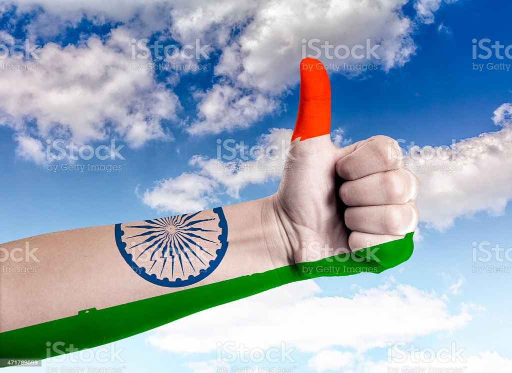 Thumbs up to the sky India royalty-free stock photo