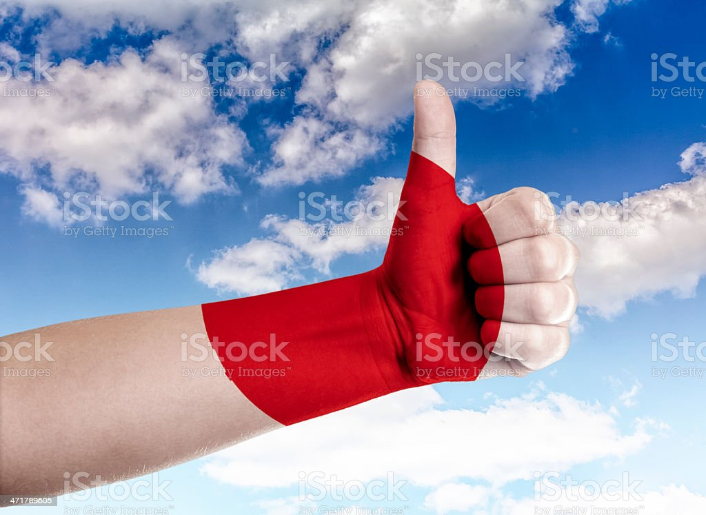 Thumbs up to the sky Japan royalty-free stock photo