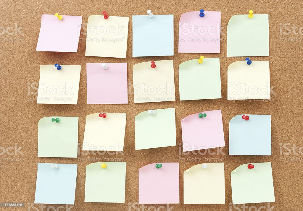 Thumbtack and note paper group royalty-free stock photo