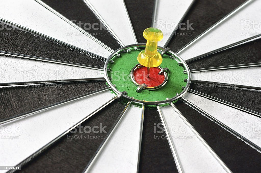 Thumbtack on Dartboard royalty-free stock photo