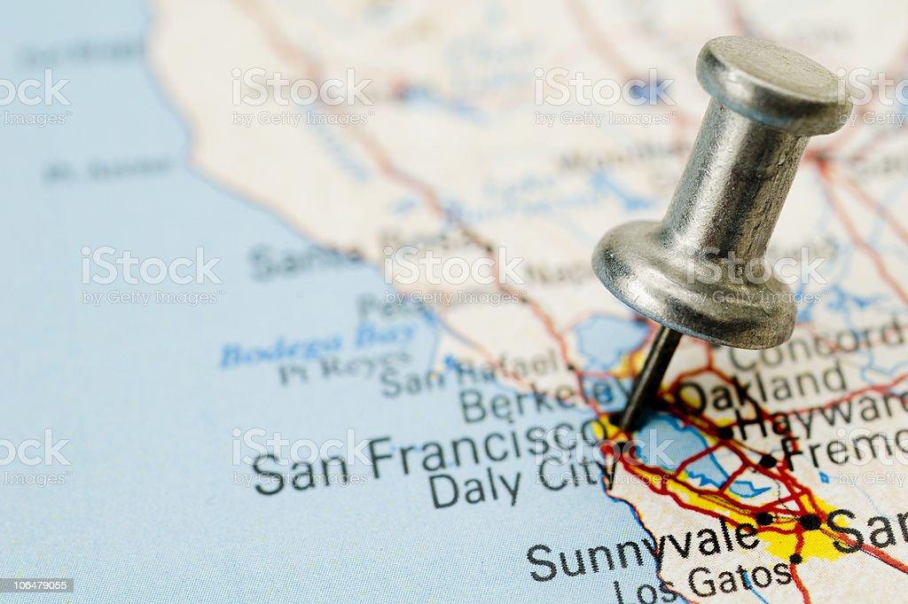 Thumbtack on San Francisco stock photo