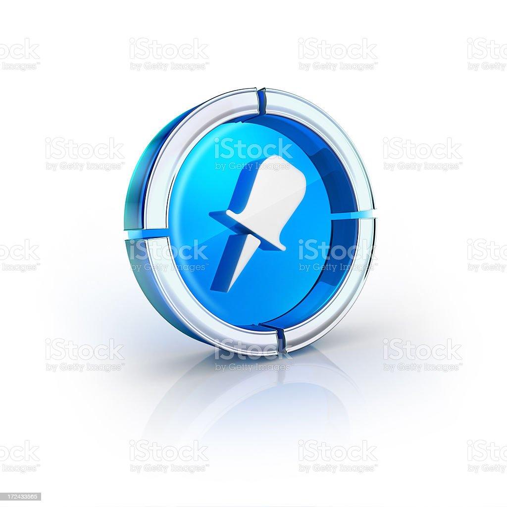 thumbtack or location glossy blue icon stock photo