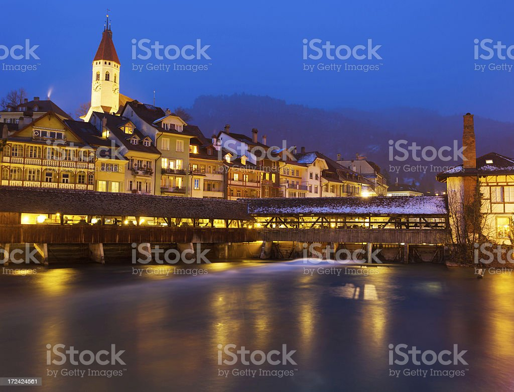 Thun City in Night, central Switzerland. royalty-free stock photo