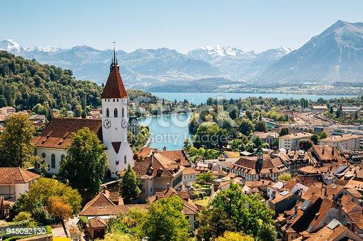 istock Thun cityspace with Alps mountain and lake in Switzerland 945092130