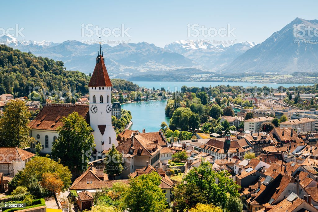Thun cityspace with Alps mountain and lake in Switzerland stock photo