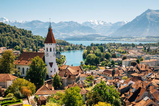 Thun cityspace with Alps mountain and lake in Switzerland Thun cityspace with Alps mountain and lake in Switzerland switzerland stock pictures, royalty-free photos & images