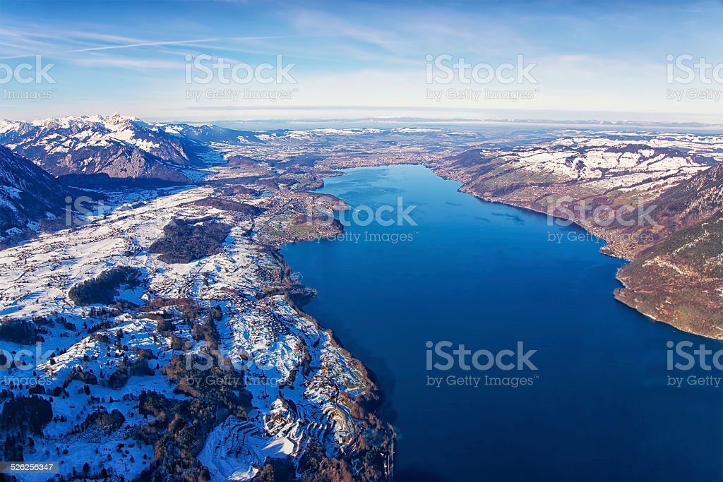 Thun Lake aerial view in winter stock photo