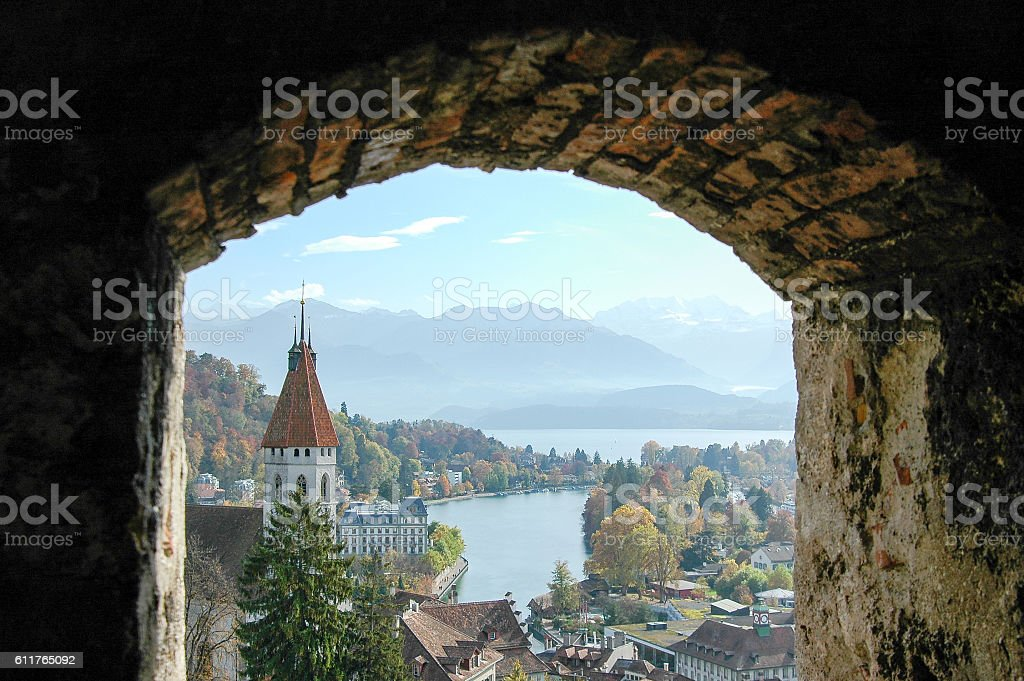 View of Thun Lake and Alps from the Top of Thun Castle in Autumn,...