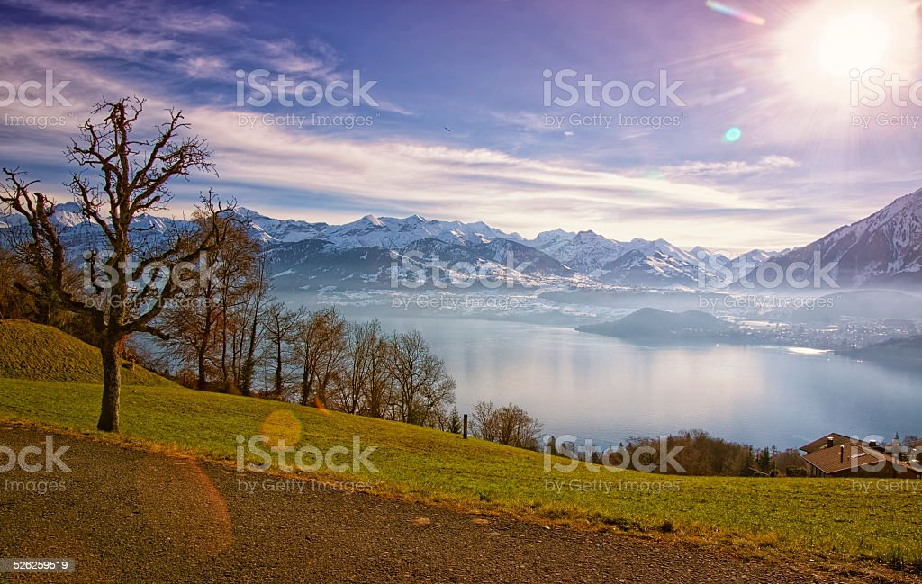 Thun Lake and Jungfrau region highlands view in winter stock photo