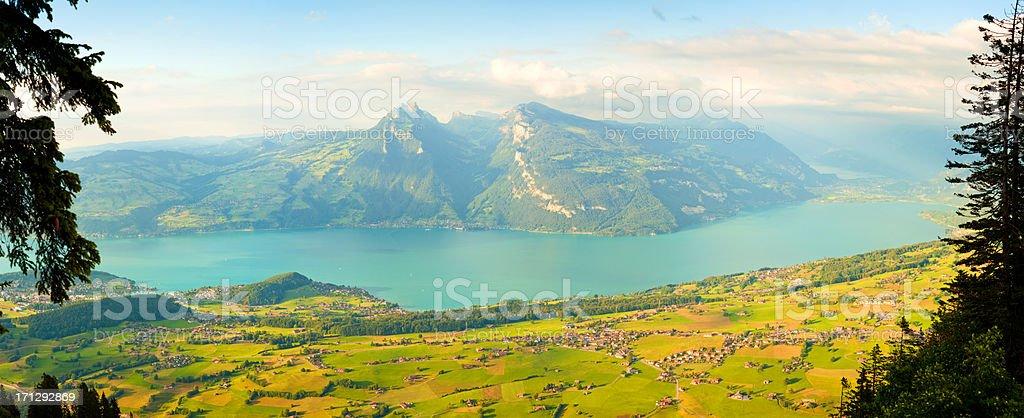 thun lake and mountain royalty-free stock photo